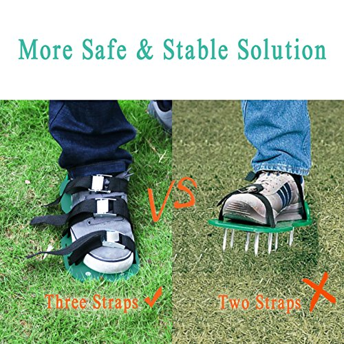 "Rockrok Lawn Aerator Shoes, Heavy Duty 2"" Spike Sandals for Aerating Your Garden Yard Soil - 3 Adjustable Straps and Metal Buckles - 1 Size Fits All"