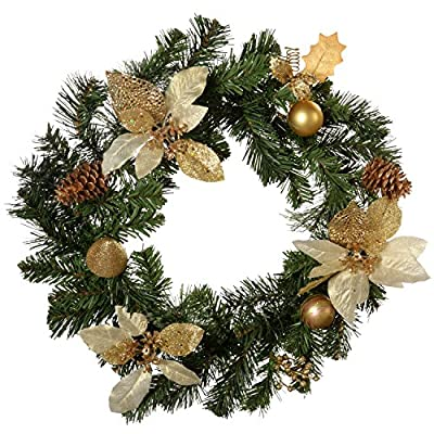 Cream/ Gold Ready Decorated Christmas Wreath 45 cm