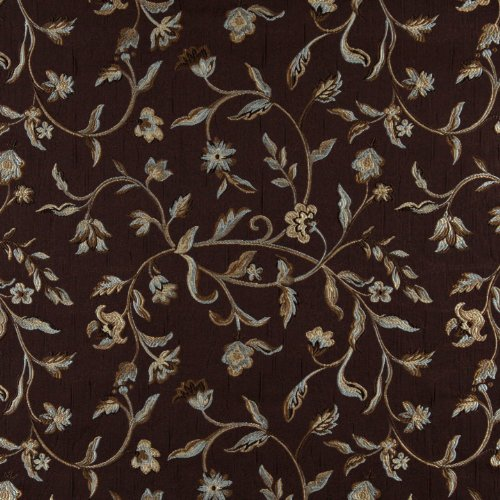 """54"""" Wide K0011F Brown, Light Blue, Gold And Ivory Embroidered, Floral Brocade, Upholstery And Window Treatments Fabric By The Yard front-635598"""