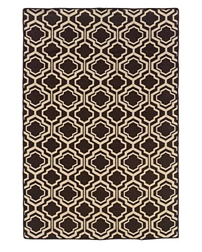 Linon Home Décor Saloniki Double Quatrefoil Rug, Brown, 5' x 8'