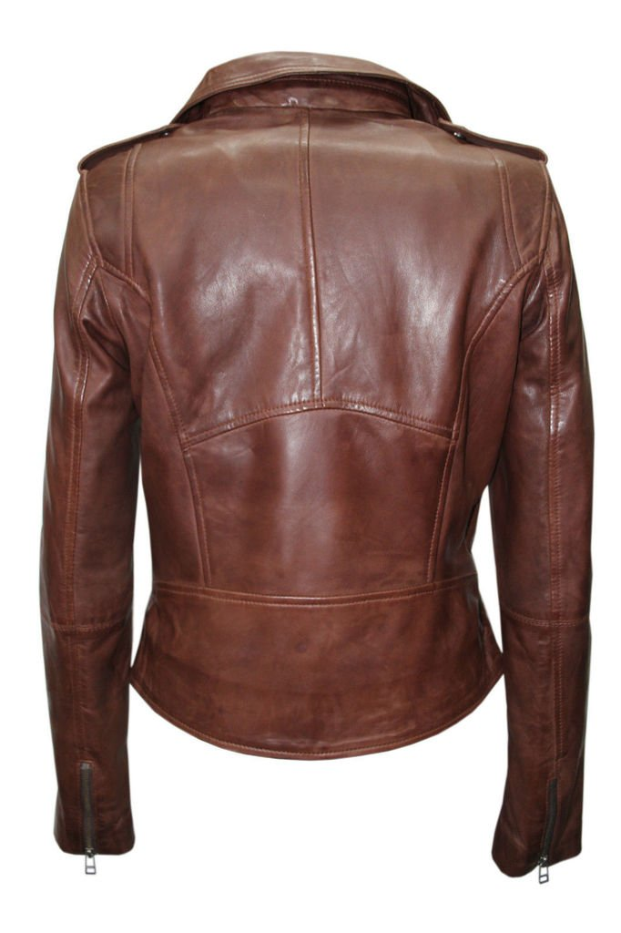 Ladies Retro Brando Chestnut Brown Biker Casual Soft Nappa Leather Jacket 3