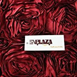 "E'Plaza 2pcs New Burgundy 3D Raised Ribbon Roses Cushion Covers Throw Pillow Cases 16*16"" (2, burgundy)"