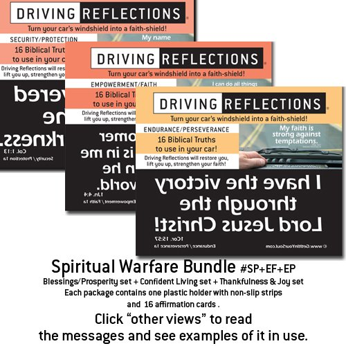 Spiritual Warfare Bundle Driving Reflections 3-Pack, Biblical affirmations to empower your thinking, relieve stress, and deepen your spiritual life while you drive! Give a unique motivational gift that uplifts with positive, faith-filled affirmations! Secrurity/Protection set + Empowerment/Faith set + Endurance/Perseverance set.