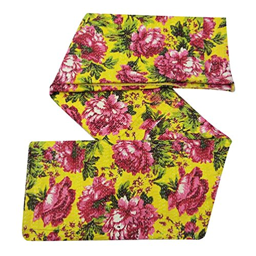 Amarillo algodón acolchado de algodón Kantha Stitch Handmade Gudri Queen Size Regalo Arte Colcha 108