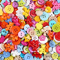 Crystallove Mixed Small Plastic Buttons Lot for Sewing Fasteners Scrapbooking and DIY Handmade Craft with Different Color and Style (plastic-100pcs)