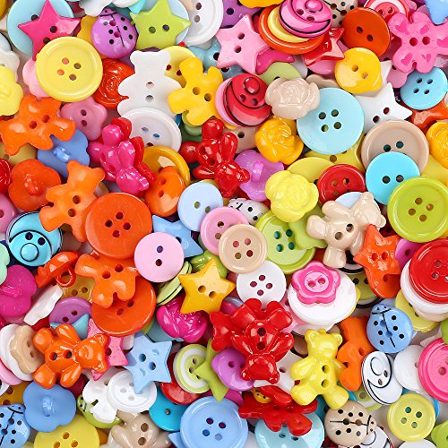 Crystallove Mixed Small Plastic Buttons Lot for Sewing Fasteners Scrapbooking and DIY Handmade Craft with Different Color and Style (plastic-100pcs) (Buttons For Clothes compare prices)