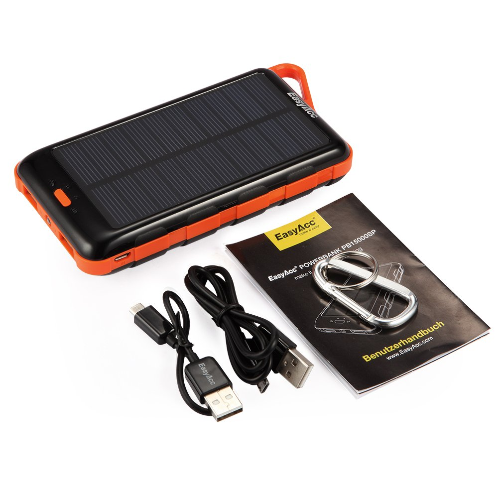 easyacc 15000 mah solar power bank dual usb externer akku mit eingebauter lampe ebay. Black Bedroom Furniture Sets. Home Design Ideas