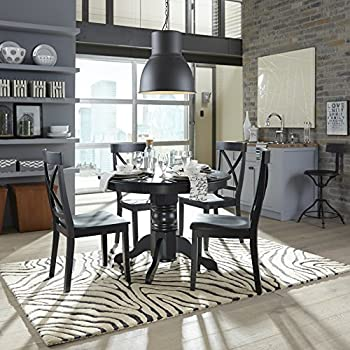 Home Styles 5178-30 Round Pedestal Dining Table, Black Finish