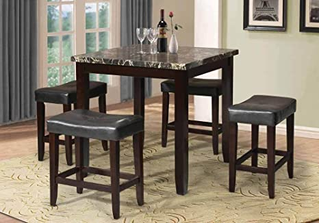 1PerfectChoice 5 PC Counter Height Dining Square Black Faux Marble Top PU Leather Saddle Stool