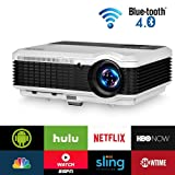 Wireless Bluetooth HDMI Projector 1080P Home Theater 2019 Smart Android 6.0 LCD LED Multimedia Video Projectors 4600 Lumen Outdoor WiFi Proyector for PC Laptop USB Driver TV Stick PS4 Wii Xbox (Color: Bluetooth/Wireless/4600lumens-EUG X88+AB)