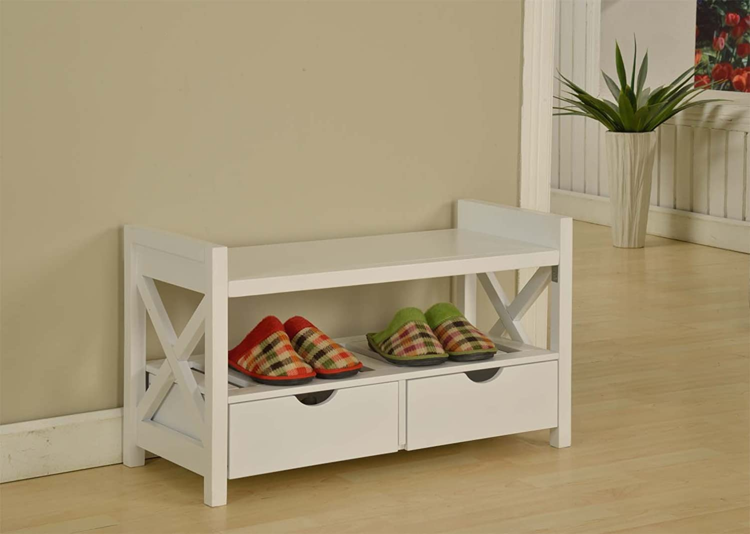 Kings Brand White Finish Wood Shoe Storage Bench With ...