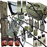 Deluxe Carp Fishing Set up With 3x Rods Reels Alarms Tackle Hooks PVA Carryall