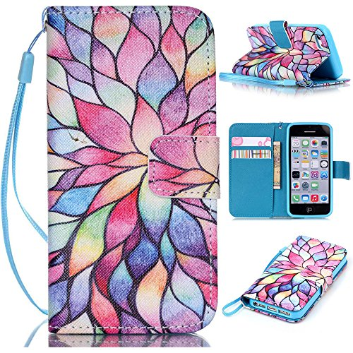 6 Plus case,iPhone 6 Plus Case,Colorful Floral Pattern Wristlet Slim PU Leather Case Wallet w/ Magnetic Closure Case for iPhone 6 Plus