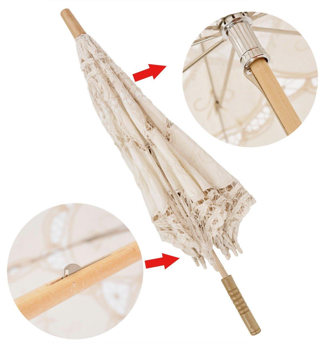 Leegoal Handmade Umbrellas for Bridal Bridesmaid Wedding Decoration, Beige 6