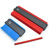 3 Piece Tool Kit | 5 inch and 10 inch Deluxe Contour Gauge Duplicator Marking Tools Set | Profile Angle Ruler | Perfect Template for Woodworking and Measuring Shapes and Corners by TEL Tools (Color: Red, Blue)
