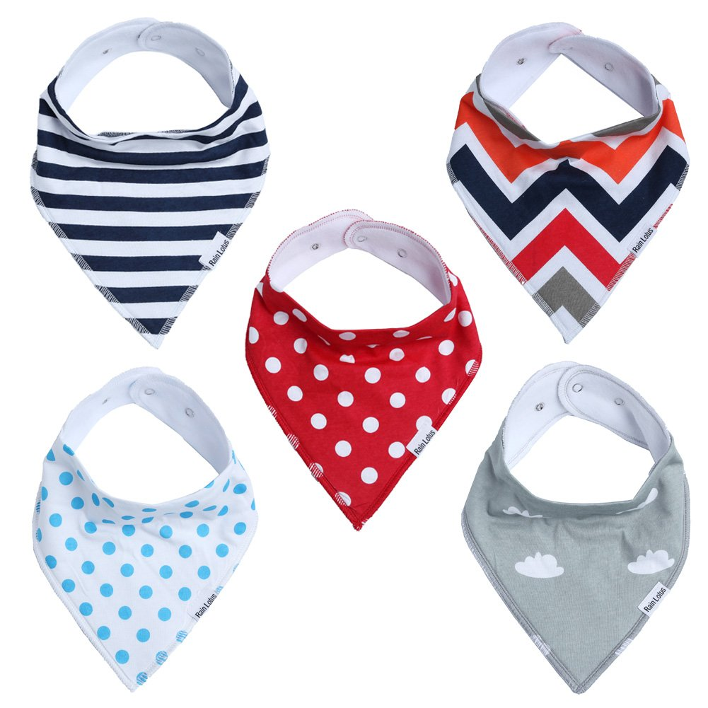 Baby Bandana Drool Bibs for Boys & Girls Unisex 5 Pack Absorbent Cotton Modern Baby Gift Set