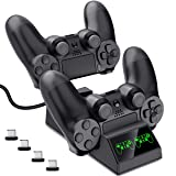 EALNK PS4 Controller Charger, PS4 Charging Station for Controller DualShock USB Fast Charging Dock for Sony Playstation4 / PS4 Slim / PS4 Pro Controller with 4 Micro USB Charging Dongles (Color: Black, Tamaño: PS4 Controller Charger)