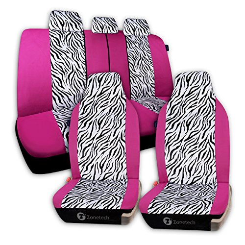 Zone Tech Universal Car Seat Covers - 7-Piece Set Zebra Prints Car Seat Covers, Airbag and Split Bench ready, Pink/White color (7 Piece Seat Covers For Cars compare prices)