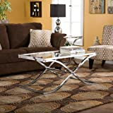 Accent Metal and Glass Cocktail Coffee Table - Chrome