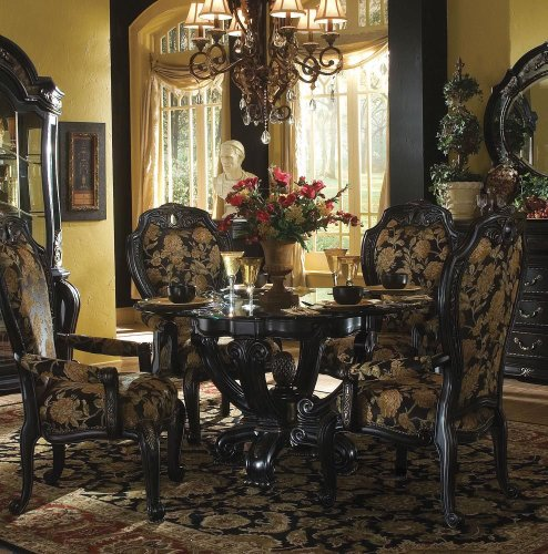 Marvelous 5 Pc Oppulente Round Pedestal Dining Table Set By AICO   Sienna Spice  52