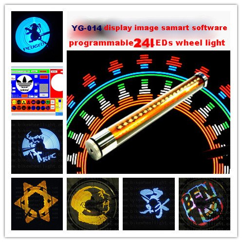 2012 newest led bicycle wheel light Programmable spoke light for bike with 24pcs big led support Editing software