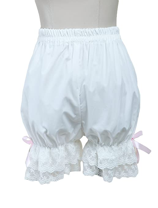 Women's Cute White Cotton Bloomers with Lace Ruffle Hem by ZKCostume