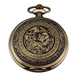 AMPM24 Bronze Mens Dragon & Phoenix Dangle Pendant Pocket Quartz Watch + Gift Chain