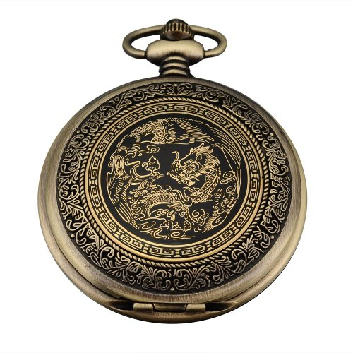 AMPM24 Bronze Mens Dragon & Phoenix Dangle Pendant Pocket Quartz Watch + Gift Chain WPK062