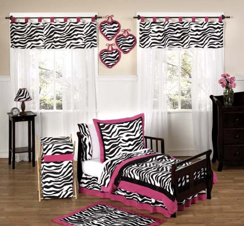 Funky Zebra And Hot Pink Toddler Bedding 5 Pc Set By Sweet Jojo Designs