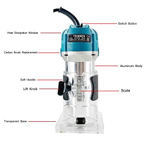 Cozyel 110V 800W Palm Router Electric Hand Trimmer Wood Router 1/4 Collets Woodworking Tool Laminate Trimmer, Blue (Color: Blue)