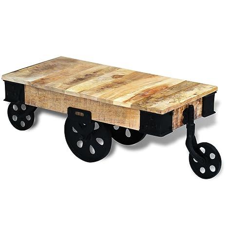 Vidaxl caffè divano tavolino supporto da scrivania con rotelle/ruote Rough mango legno fatto a mano