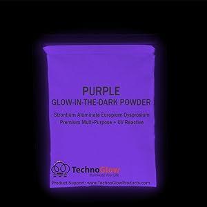 Violet/Purple UV/Glow in the Dark Pigment Powder - Medium 30-40 um-50g (Color: purple, Tamaño: 50 Grams)
