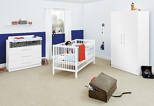 Pinolino Kinderzimmer Lenny breit, 3-teilig, Kinderbett (140 x 70 cm), breite Wickelkommode mit Wickelaufsatz und Kleiderschrank, weiß mit Echtholzstruktur (Art.-Nr. 10 00 84 B)