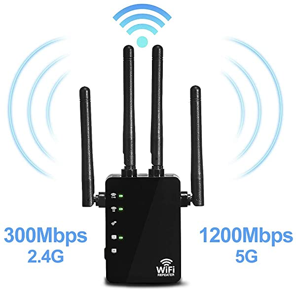 5GHz WiFi Range Extender - 1200Mbps WiFi Long Range Extender Repeater/Access Point/Router Dual Band Wireless Signal Booster & Gigabit Ethernet Port WiFi Range Amplifier 4 External Antennas (Color: 1200Mbps-B, Tamaño: 5G WiFi Range Extender 1200Mbps)