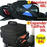 Oxford 1st Time Motorbike Motorcycle Sports Panniers + Expander Tail Pack 84L