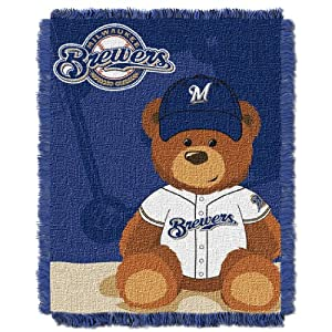 MLB Milwaukee Brewers Field Woven Jacquard Baby Throw Blanket, 36x46-Inch by Northwest