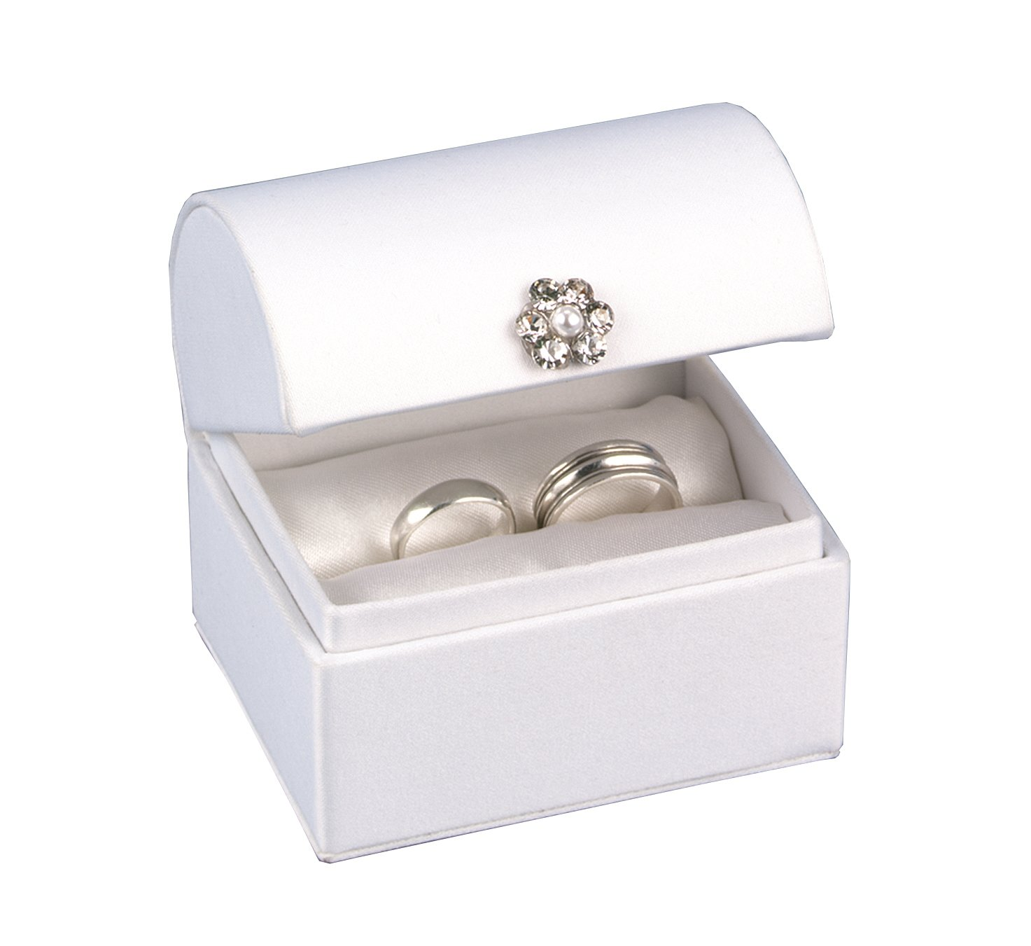 Hortense B. Hewitt Wedding Accessories White Satin Treasure Chest Ring Box – Decorative Boxes