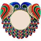 Bombay Haat Big Size Designer Peacock Pooja Thali / Rakhi Platter / Engagement Ring Platter // Tilak Thali With 2 Attached Kumkum Holders