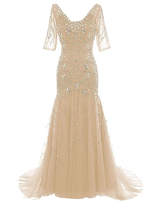 Dressystar V Neck Long Beaded Wedding Dress Mermaid Ball Gown with Sleeves Size16 Champagne