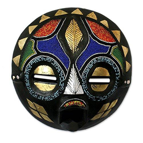 NOVICA Decorative Zambian Wood Mask, Multicolor 'My Bride'