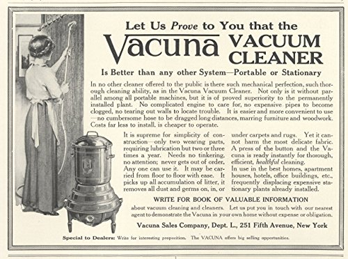 1914 Ad Woman Vacuums Curtins with Vacuna Vacuum Cleaner - Original Vintage Advertisement