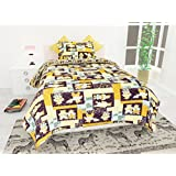 Story @ Home Pooh Bear Pattern Double Bedsheet Cotton With 2 Pillow Cover Set, Yellow