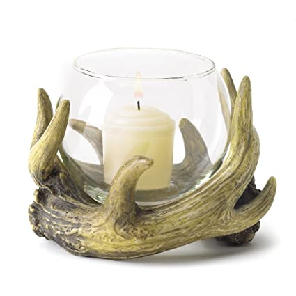 Rustic Antler Country Cabin Hunters Lodge Candleholder by Gifts & Decor