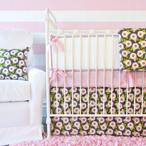 Caden Lane Pink Dahlia Flat Skirt Crib Set