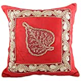 Aaiye Ghar Sajaiye Sequence Velvet Cushion Covers With Golden Embriodery- Set Of 5, Mehroon_(16 X 16 Inch)