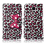 Fashion Youth Series Cute Design Bow Bowknot Leopard Print Wallet Flip Case Folio PU Leather Stand Cover with Card Slots for Samsung Galaxy S5 G900 + Free Lovely Gift