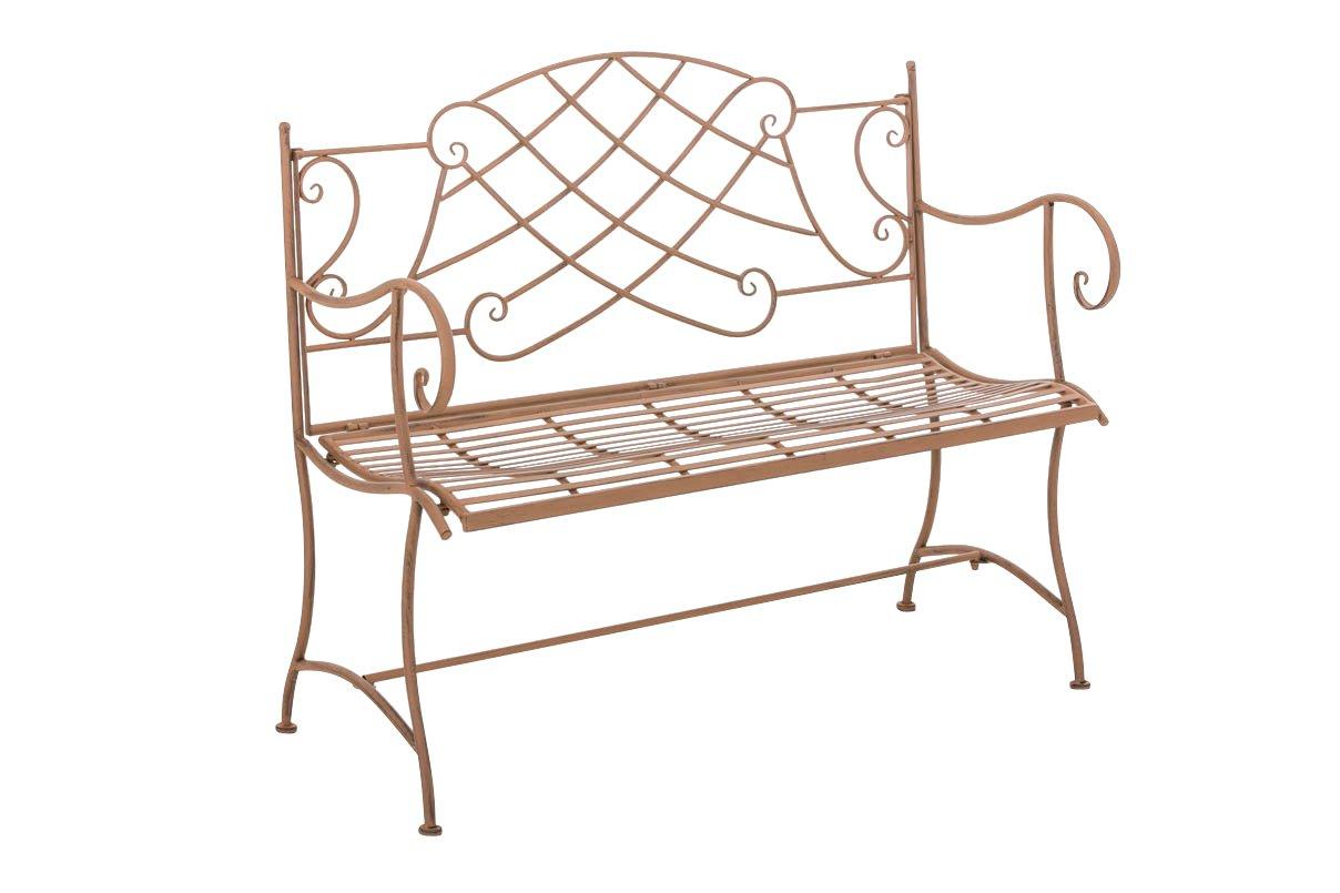 CLP Gartenbank SELENA im Landhausstil, aus lackiertem Eisen, 109 x 43 cm - aus bis zu 6 Farben wählen antik braun