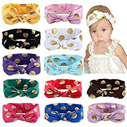 Toptim Baby Girl\'s Turban Headband Head Wrap Knotted Hair Band (Mix 12 Colors)