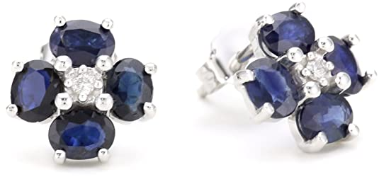 14k White Gold Blue Sapphire Flower Earrings with Diamond-Accent