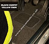 Smart Roadster (2003 to 2006) Black Car Mats + Yellow Trim